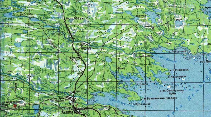 Карта морского участка р. Воньга
