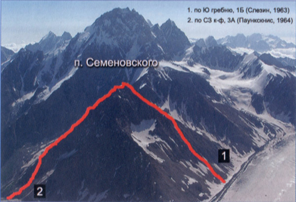 Маршрут 1Б на п.Семеновского (4086,1Б). Фото из путеводителя по Ц.Кавказу