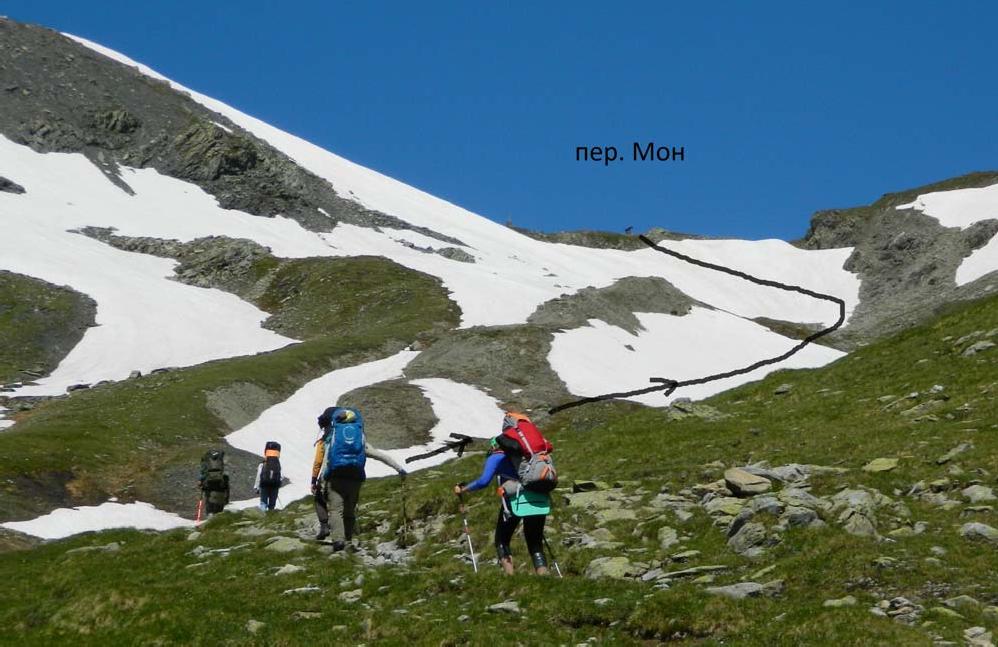 Фото06. Подход к взлёту пер. Мон со стороны дол. Гранд Альпе