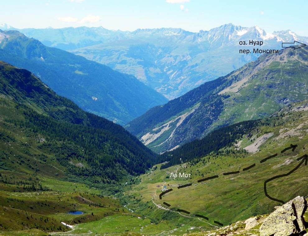 Фото 10. Вид со стороны пер. Мон на запад. Сплошной линией показан наш путь к оз. Нуар, пунктиром – рекомендуемый.