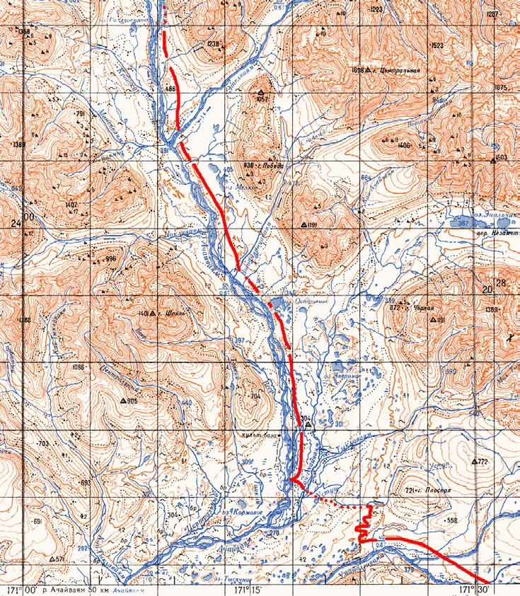 Карта выхода через водораздел от Умайолгиваяма к Ачайваяму и подъема вверх по Ачайваяму.