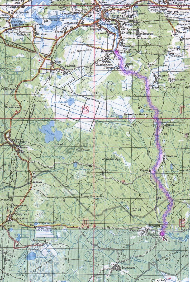 Карта реки Пра