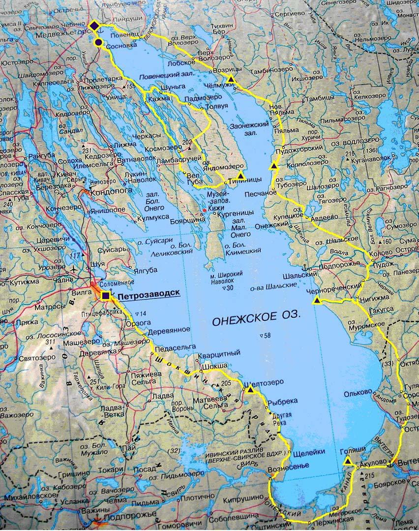 Схема велопохода вокруг Онежского озера