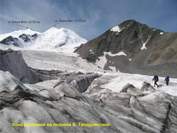 Зона трещин. Ледник Б.Талдуринский.