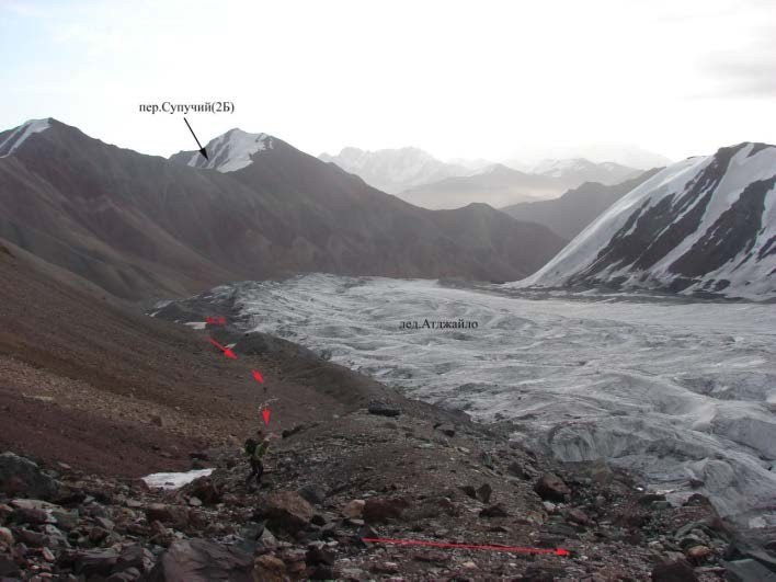 Ф.16 Вид в низовья левого кармана ледника Атджайло