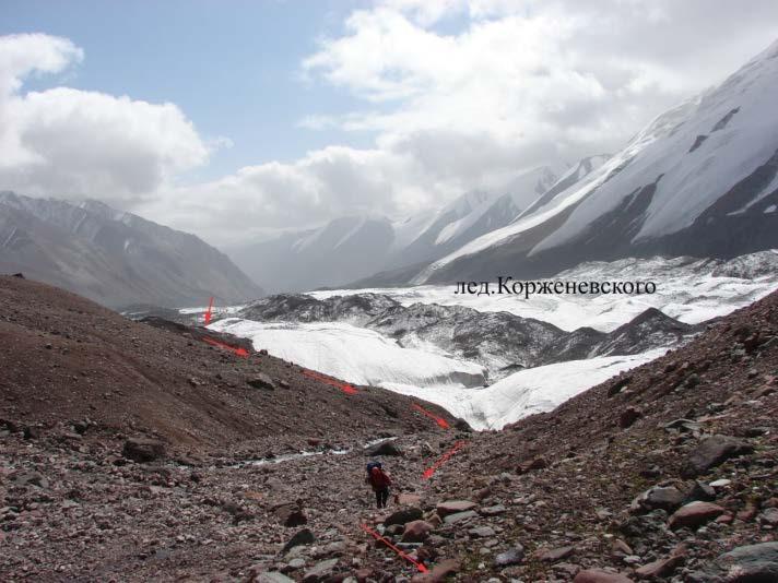 Ф.106 Выход на террасы лед. Перевальный и Корженевского вдоль ручья