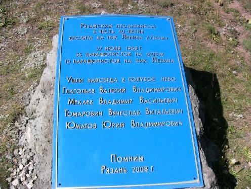 Мемориальная доска рязанским парашютистам